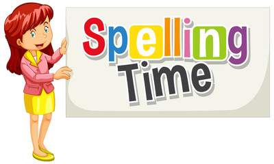 Font design for word spelling time with woman holding the sign