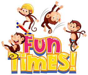 Sticker design for word fun times with cute monkeys