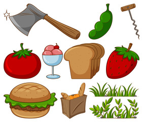 Large set of different food and other items on white background