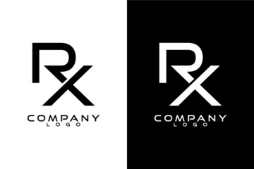 RX, XR Initial Letter Logo Template Vector Design with black and white background