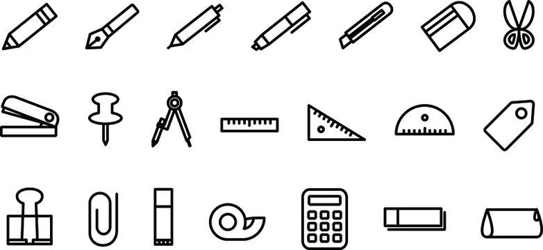 文房具のアイコン/イラスト/シンプル/白黒