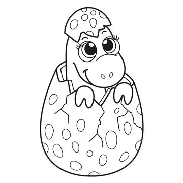 Coloring book for children baby dinosaur in an egg