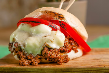 Colorful rustic burger with vegetables