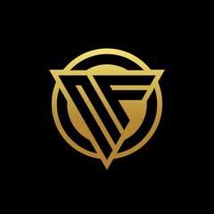 NF logo monogram with triangle shape and circle rounded isolated on gold colors