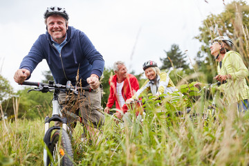 Active seniors group is on a cycling trip