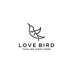 Creative luxury modern bird with heart sign logo template vector icon.