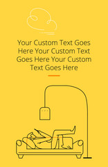 A man lying on a couch and looking at a mobile phone under a floor lamp, one leg thrown over the other. Yellow template with text placeholder in portrait orientation. Minimalistic illustration.