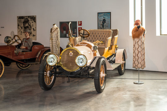 Malaga, Spain - December 7, 2016: Vintage Antique 1907 Richmond Roadster car belongs to the collection shown at Malaga Automobile Museum in Spain.
