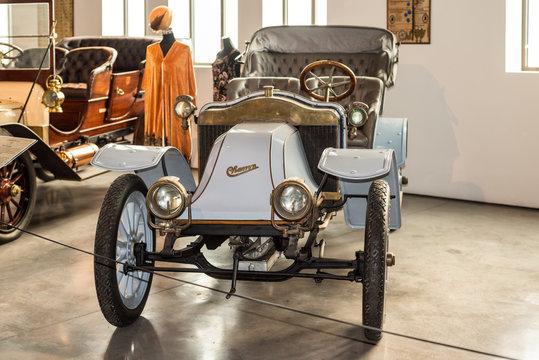 Malaga, Spain - December 7, 2016: Vintage Antique 1908 Charron France car displayed at Malaga Automobile Museum (Museo Automovilistico de Malaga) in Spain.