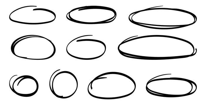 Hand drawn ovals. Highlight circles set. Line art