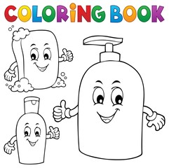 Fotorolgordijn Voor kinderen Coloring book soap and hygiene theme 1