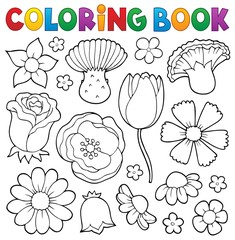 Fotorolgordijn Voor kinderen Coloring book various flower heads set 1