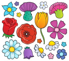 Photo sur Plexiglas Enfants Various flower heads theme set 1