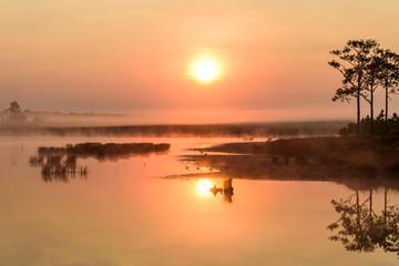 Foto op Aluminium Koraal Sunrise Phu Kradueng Reservoir Phu Kradueng National Park , located in Phu Kradueng District in Loei Province : Thailand