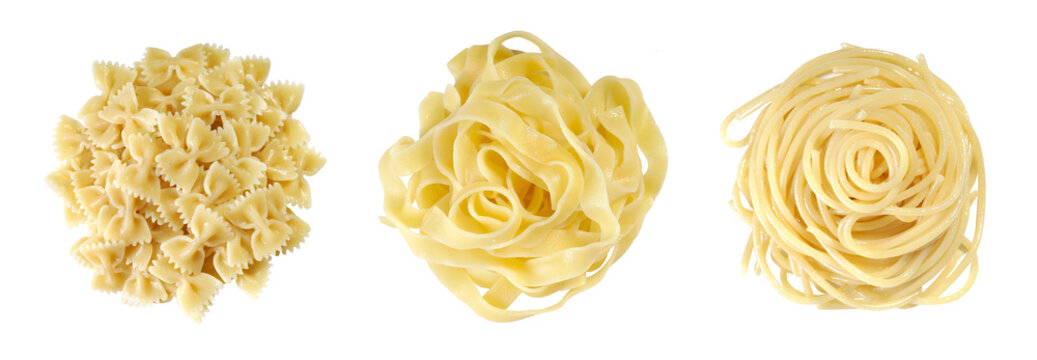 Fettuccine, Farfalle, spaghetti on a white background