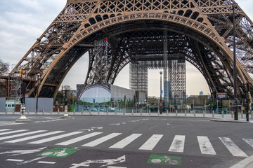 Coronavirus Lockdown in Paris. Nobody in front of the Eiffel tower.