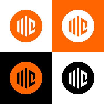 Initial letter WC or MC logo design, simple vector illustration