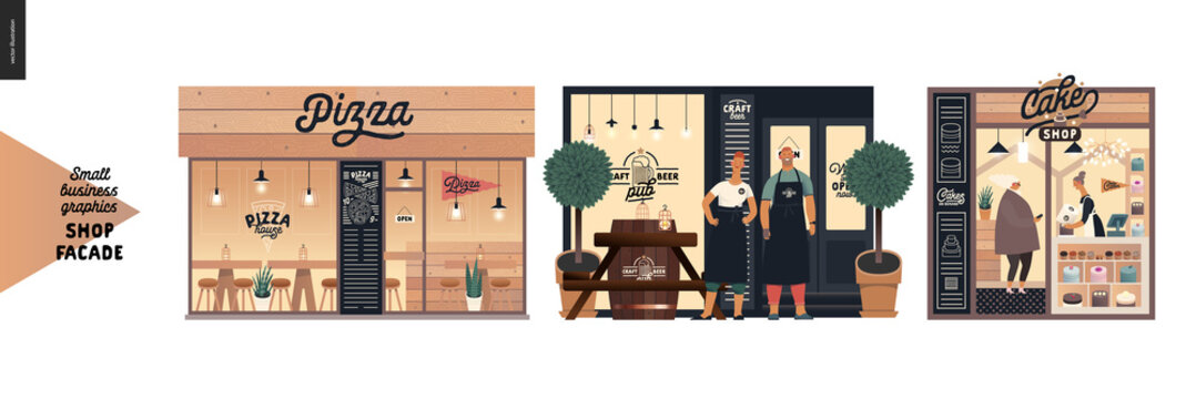 Facades -small business graphics. Modern flat vector concept illustrations -pizza house front, craft beer pub, cake shop. Owners wearing aprons in front of the entrance, interior seen from the outside