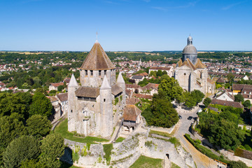 Papiers peints Con. Antique Aerial view of Provins