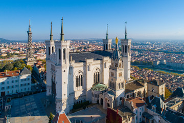 Lyon, Aerial view of Notre Dame de Fourviere Basilica Wall mural