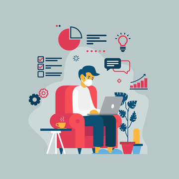 Vector illustration of a man teleworking