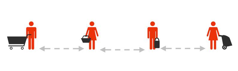 Beim Einkaufen an der Kasse bitte Abstand halten