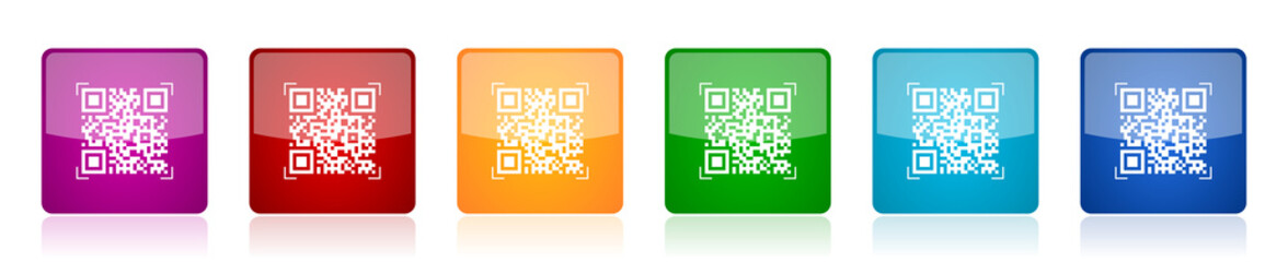 Qr code icon set, shopping colorful square glossy vector illustrations in 6 options for web design and mobile applications