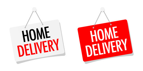 Home delivery on door sign hanging