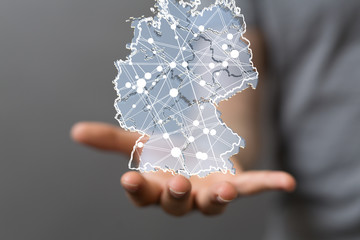 germany map digital in hand 3d