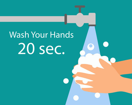 Wash your hand 20 sec. for protect from virus concept, cartoon vector style for your design