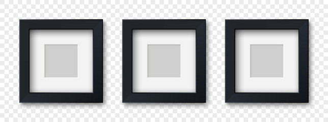 Mockup three realistic square picture or photo frame black color isolated on transparent background for your design. Vector illustration EPS10