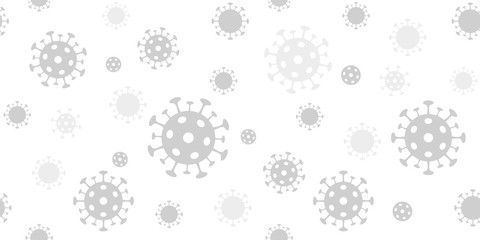 Coronavirus background. Vector seamless pattern with covid-19 virus sign. Light gray backdrop for banners