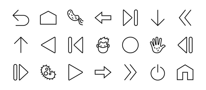 Set of line arrows, directions, arrows, contains icons such as pause, continuation, directly, to the right, Editable stroke. 480x480, On a white background, Vector illustration