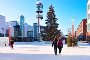 Deurstickers Noord Europa People and Lordi Square in winter Rovaniemi