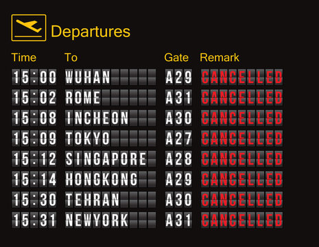 flight cancellation. flight information digital screen board showing status flight cancelled. flights to the epidemic city with high spread of the COVID-19 are cancelled as a policy to prevent illness
