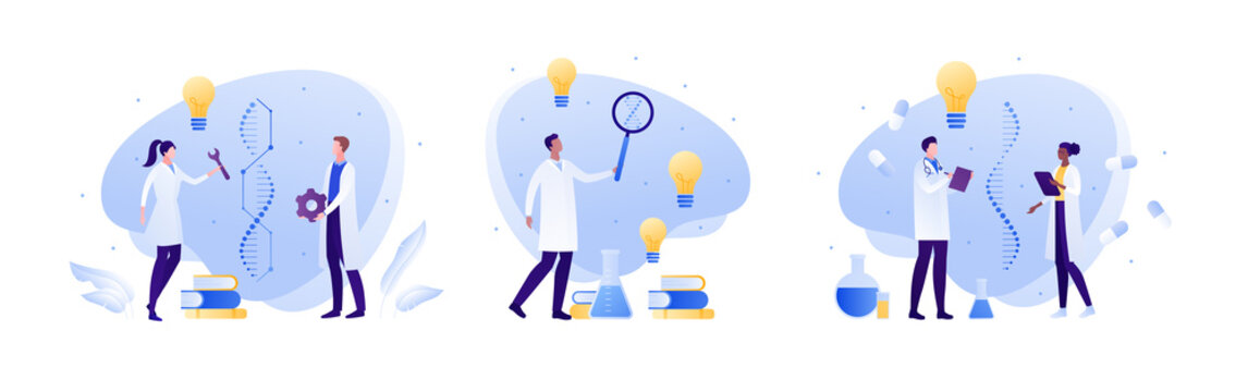 Science genetic laboratory and artificial dna concept. Vector flat person illustration. Male and female scientist with gene helix sign. Lab equipment. Idea light bulb. Design for medicine banner