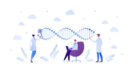 Science genetic laboratory and gene analyze concept. Vector flat person illustration. Multiethnic male and female scientist with dna sign. Magnifying glass and laptop. Design for medicine banner