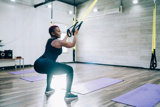 Black training woman with big buttocks
