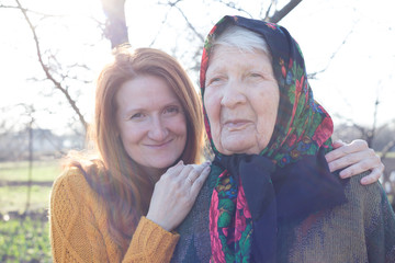 happy family - grandmother and granddaughter