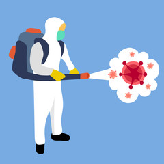 A man in hazmat suit spraying and disinfecting covid-19 Coronavirus cells epidemic. Virus disinfection prevention concept vector illustration. Cleaning germs, virus and bacteria in flat design.