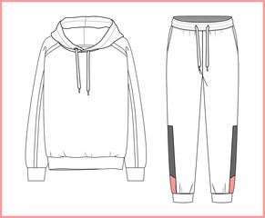 Fototapeta Sweatshirt, sweatpants fashion flat sketches. Apparel template obraz