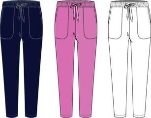 Fototapeta Sweatpants fashion flat sketches. Apparel template obraz