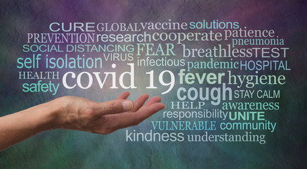 Coronavirus COVID 19 tag word cloud - female open palm hand with the words CORONAVIRUS PREVENTION...