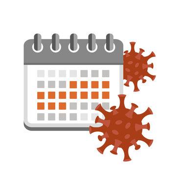 incubation period virus in red calendar vector illustration EPS10
