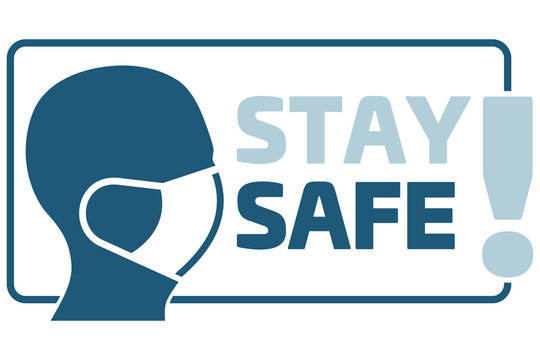 STAY SAFE! sign. Man face in profile with mask icon vector isolated on white background. Breathing mask on face flat vector. Head in profile.