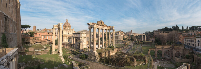 Ruins of the Roman Forum at dusk in Rome, Italy