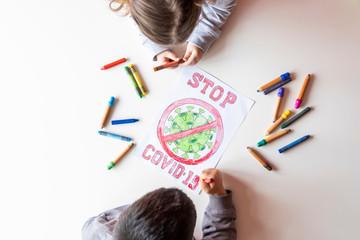 drawing of stop coronavirus