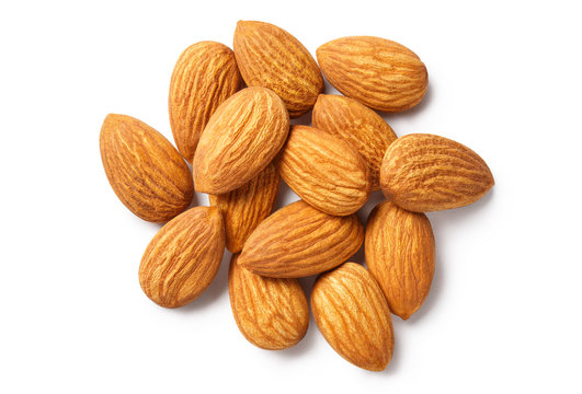Almonds, isolated on white background