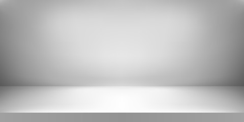 Empty white color studio. Room background, product display with copy space for display of content design. Vector illustration