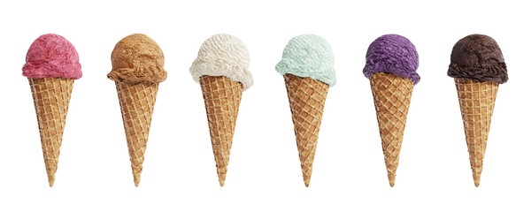 Various flavors of ice cream scoops in waffle cones isolated on white background. 3D illustration